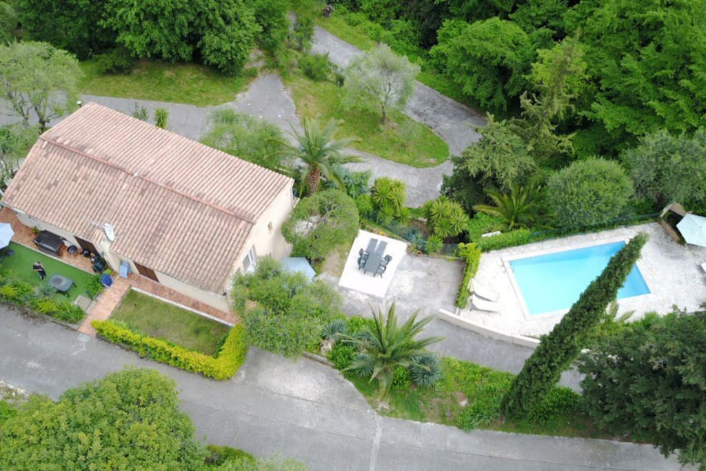 Aerial view of Villa Les Rossignols and pool. This apartment is upper level to the right.