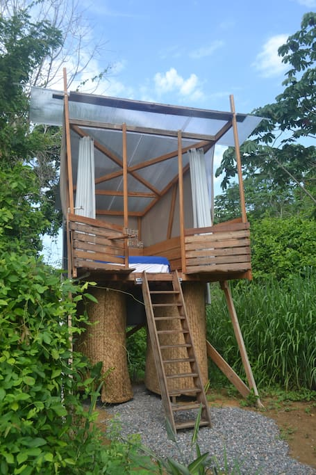 Treehouse with private shower and eco toilet.