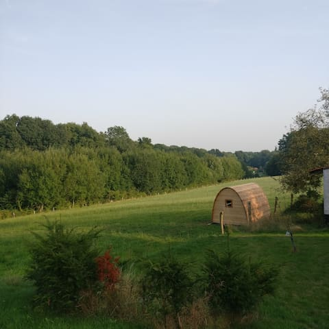 Wooden eco pod with stunning panoramic view
