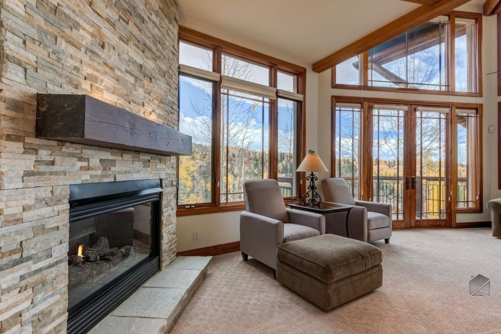 A true room with a view, of either the mountainside or fireplace.