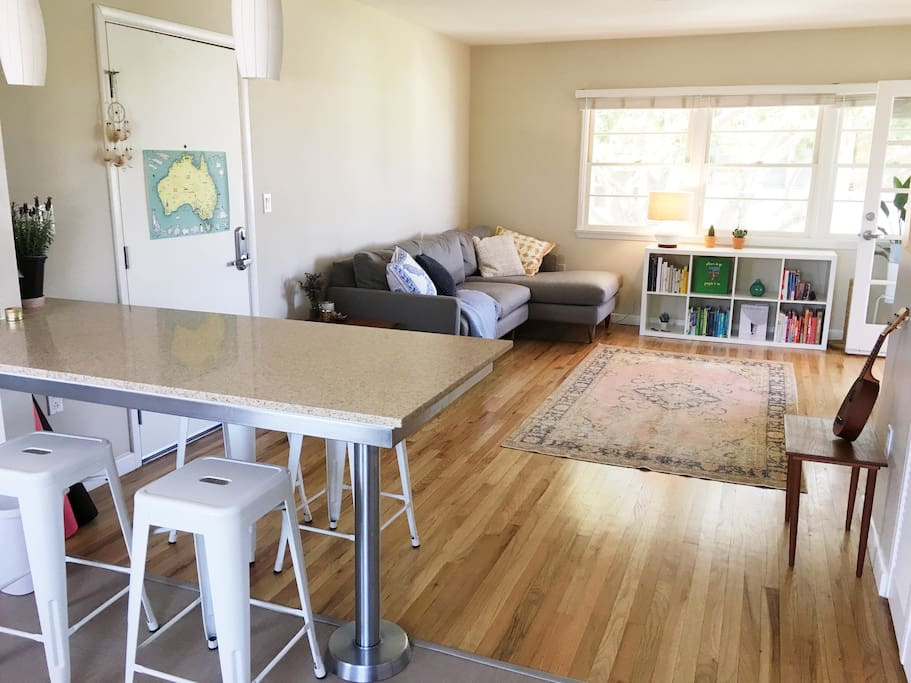 Kitchen bench-top with 4 bar stools