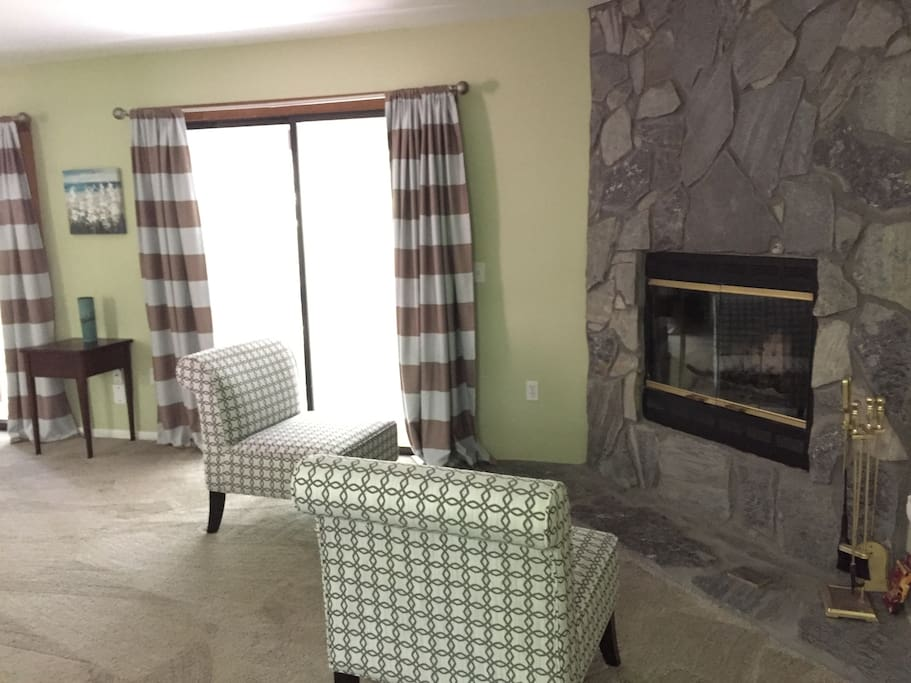 Fireplace in master bedroom.