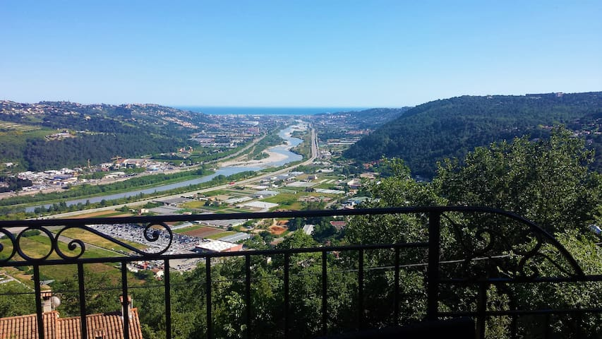 The view from your private terrace, and a glimpse of Nice Intl. Airport by the sea