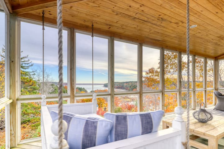 Bayfront home w/ 270-degree views, large deck & porch - near Popham Beach