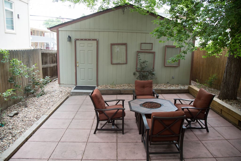 Backyard patio with gas fire pit (2 car detached garage)