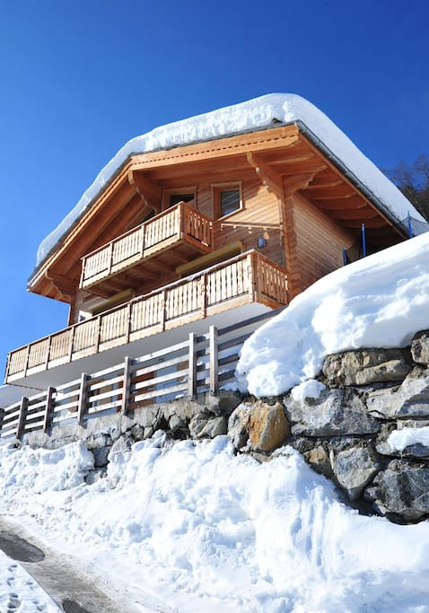 Spectacular 5 bedroom stand alone chalet with panoramic views across the Rhone valley and the Matterhorn