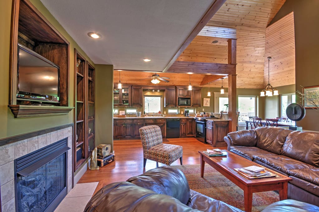 The 2,500-square-foot home features vaulted ceilings, wood floors and comfortable furnishings.