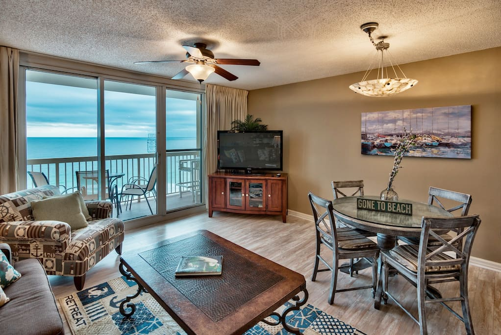 Amazing ocean views from living room, kitchen and patio! Updated white luxury wood flooring in living room and bedroom.