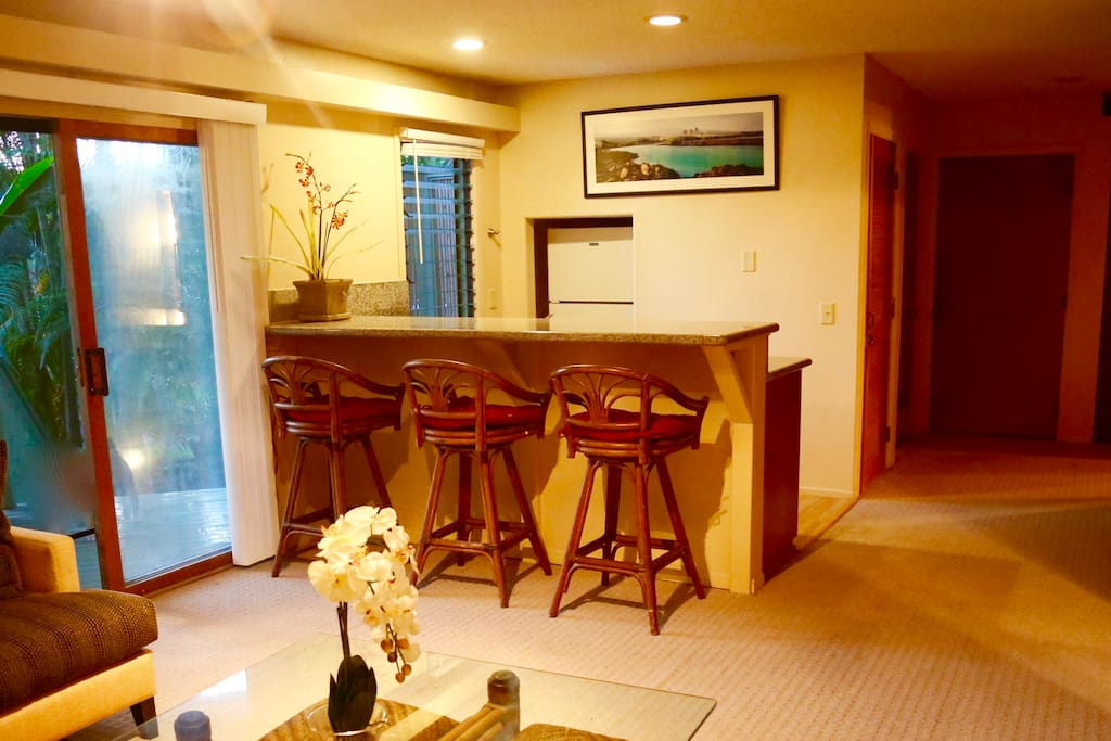 View of Kitchen bar- Granite countertops. All cookware, utensils, plates, glassware and wine glasses are provided.