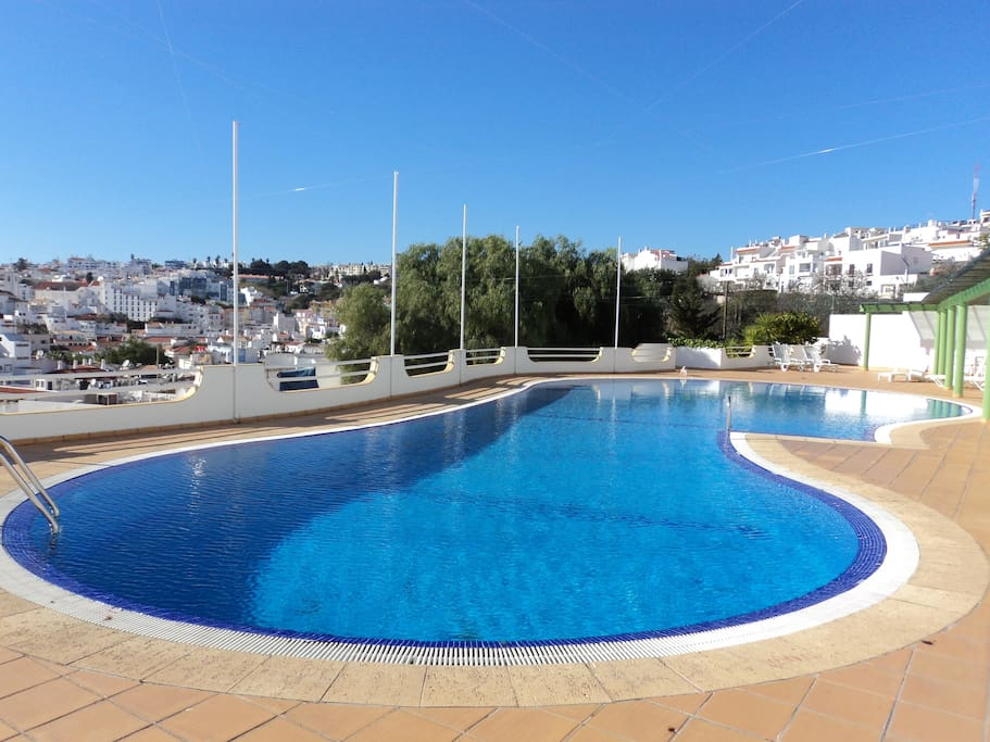 Roof top pool with views over town