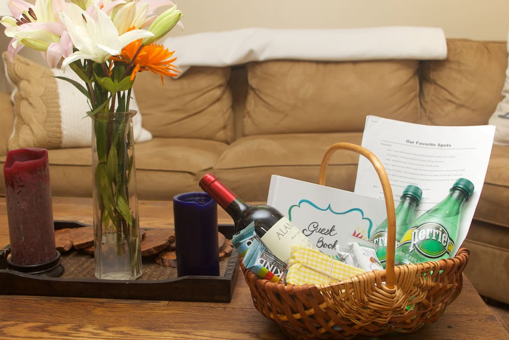 A gift basket and guest book will greet you
