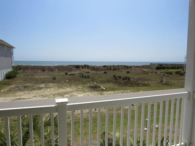 Furnished shaded deck with unobstructed ocean views