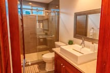 Bathroom with modern touches and walk in shower