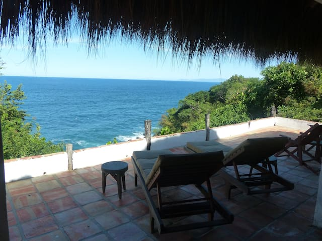 Romantic, oceanfront, jungle palapa