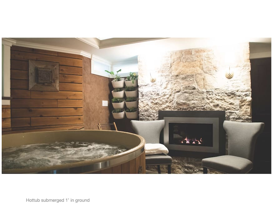 Hottub and natural gas fireplace