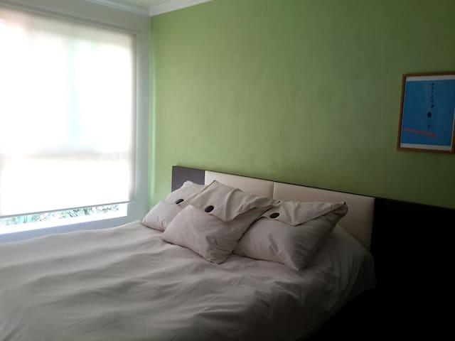 Green bedroom, queen bed