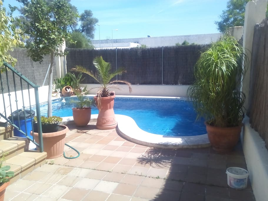 Patio trasero con piscina privada