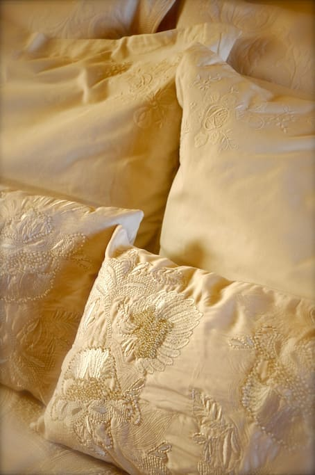 Hand-embroidered silk bed-linen