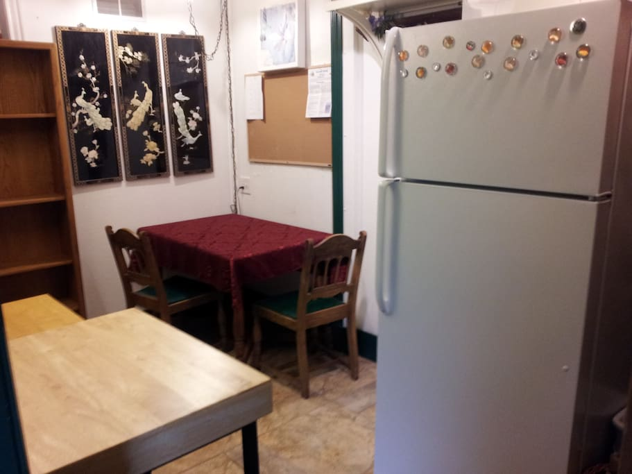 Kitchenette with microwave, toaster oven, hot plate.