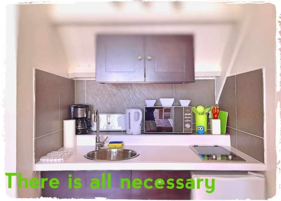 There is all necessary(coffee machine, toaster, teapot, microwave, ceramic plate and ware). Il y a tout qu' est nécessaire (la cafetière , le grille-pain, la bouilloire, le four a micro-onde, la plaque céramique  et la vaisselle .Есть все необходимое ( ко