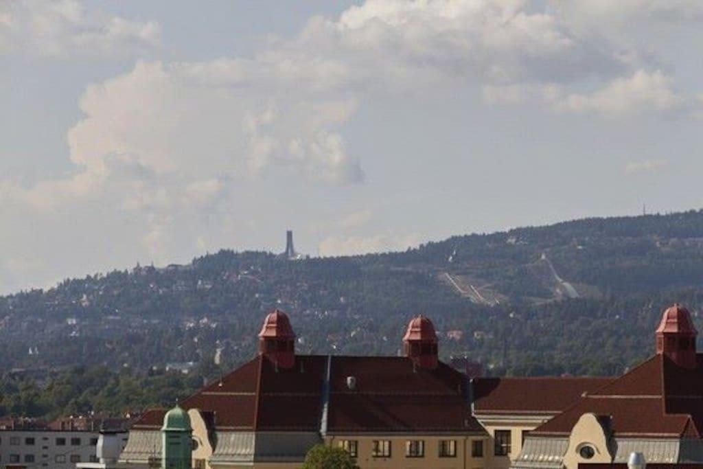 The famous Holmenkollen ski jump hill seen from terrace