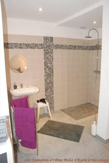 Salle de bain chambre Cassiopée équipée pour les personnes à mobilité réduite