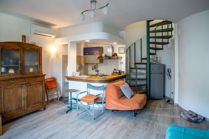 Kitchen on lower floor + A/C