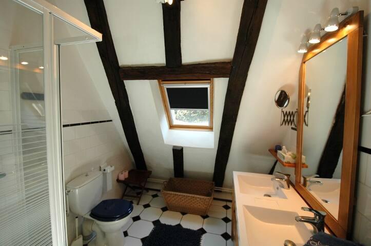 Badkamer 1 douche, dubbele wastafel, WC