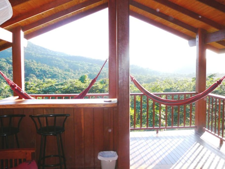 Balcony with hammocks