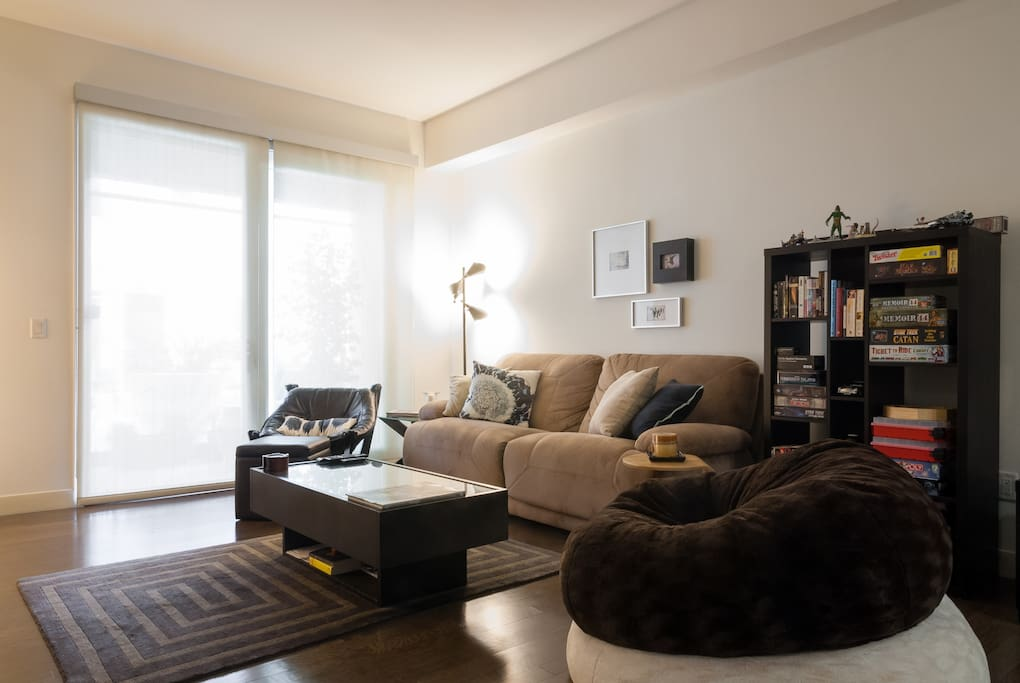 Reclining couch in living room.
