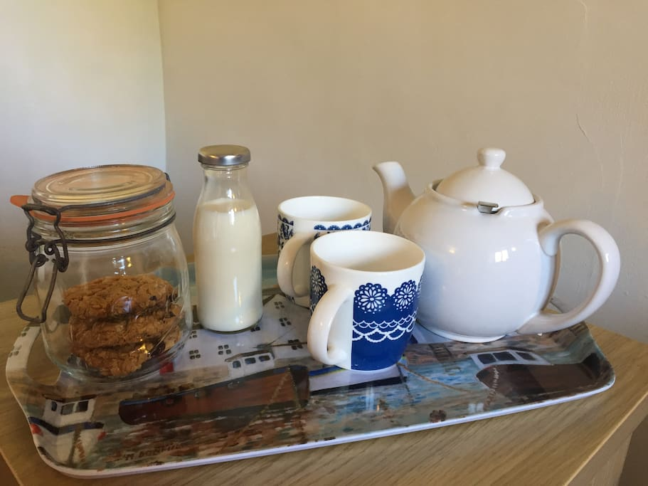 Relax with a cup of tea and biscuits (generally homemade) on arrival