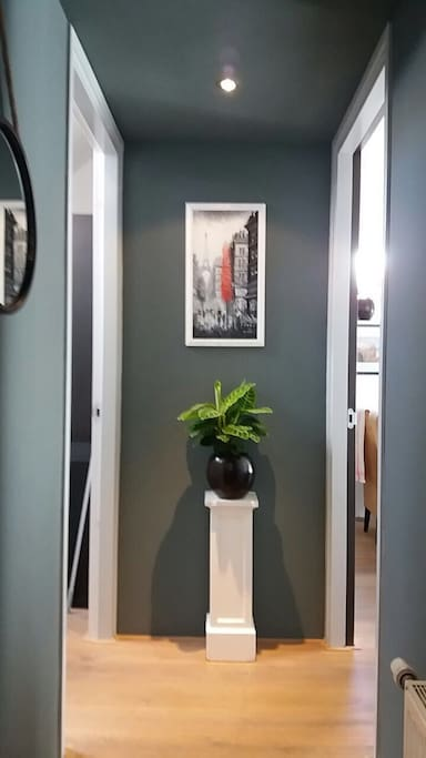 Entrance and hallway in apartment.