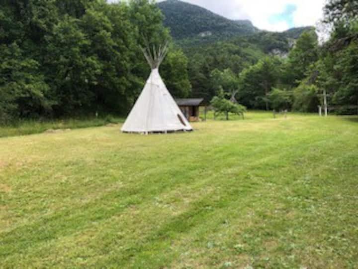 camping pour tente camp  dans cadre exceptionnel