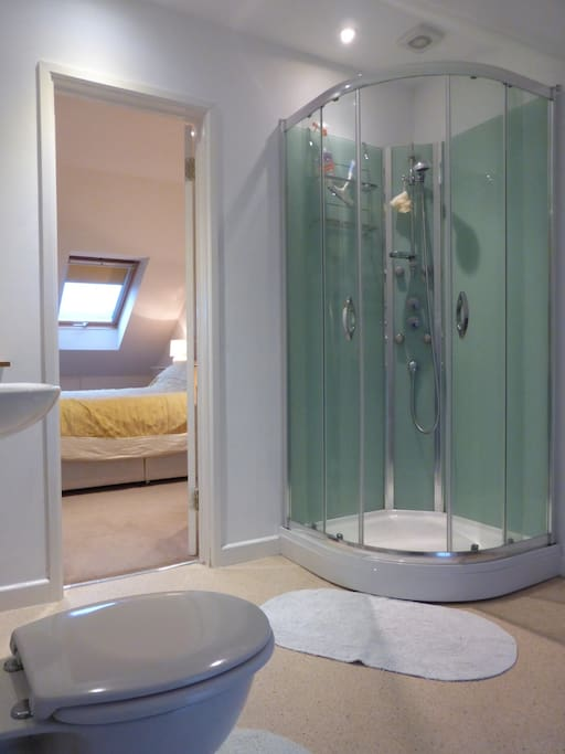 Large quadrant shower. Hot water is on demand. Bathroom includes basin, wc and heated towel rail