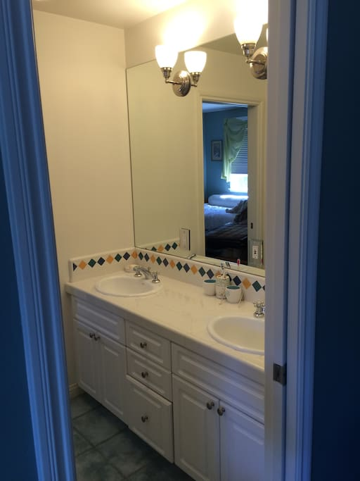 Adjoining private bathroom with separate shower room