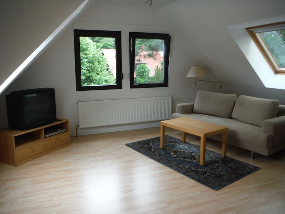 spacious livingroom, windows to three sides, second couch and cupboard not in the picture.