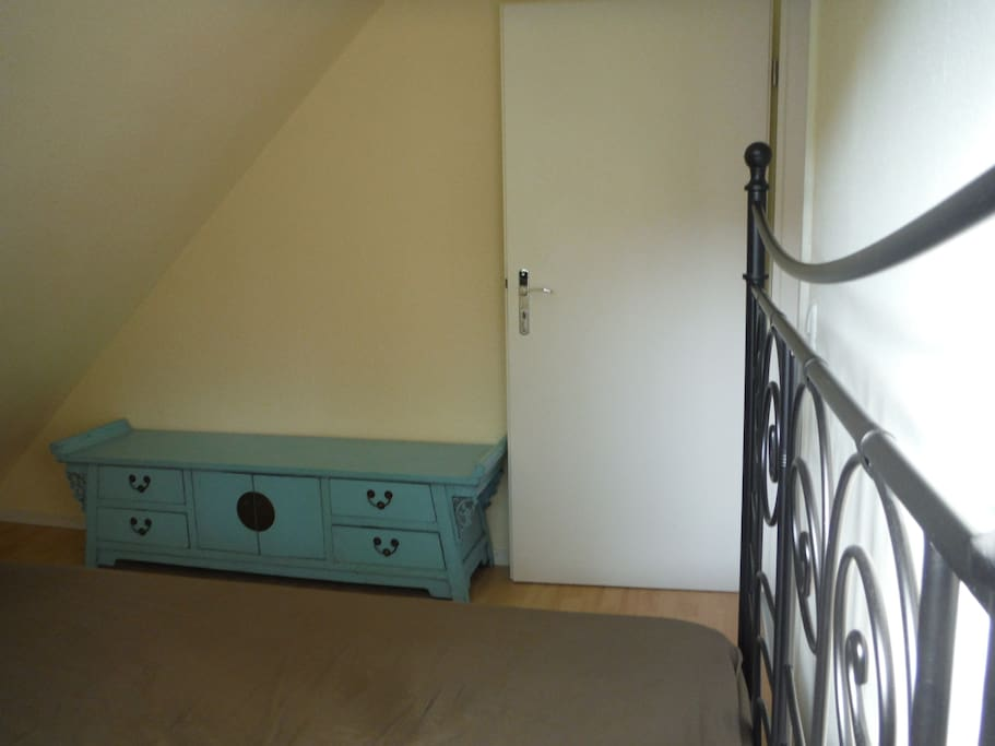 small, cozy bedroom, french bed (140cm)