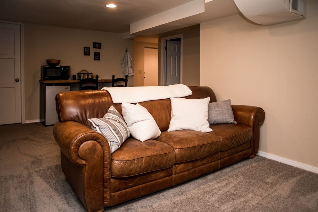 A 6th person can sleep on the couch, or there's plenty of room for a full-size air mattress. Let us know and we'll have it set up for you before you arrive!