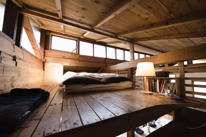 semidouble futon on loft