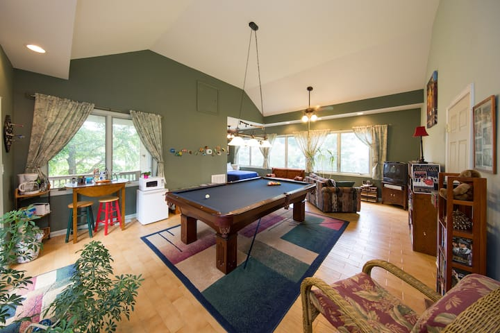 Sweet suite with hot tub and pool table