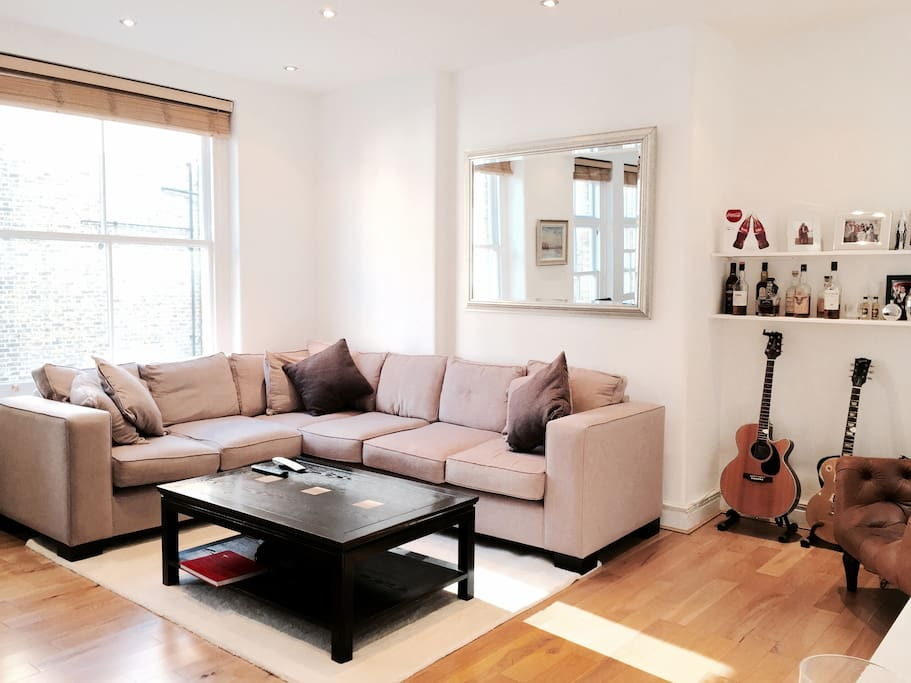Open plan living Room includes new bespoke sofa, 52inch TV, super fast Wifi, TiVo & Cable (Sky) TV.