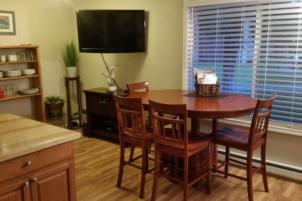 Large counter-height dining table--perfect for dinner parties, and game-night!