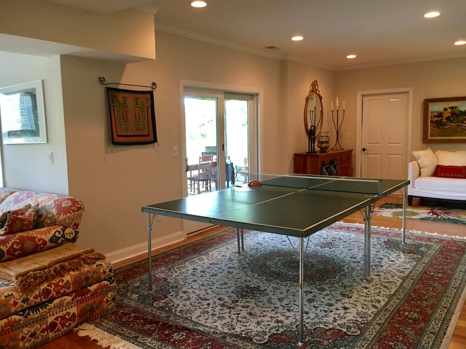Full size ping pong table and wonderful natural light