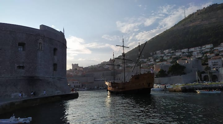Old port with a new ship