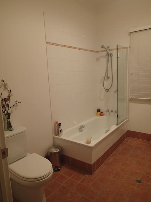 Bath, shower and toilet next to your bedroom.