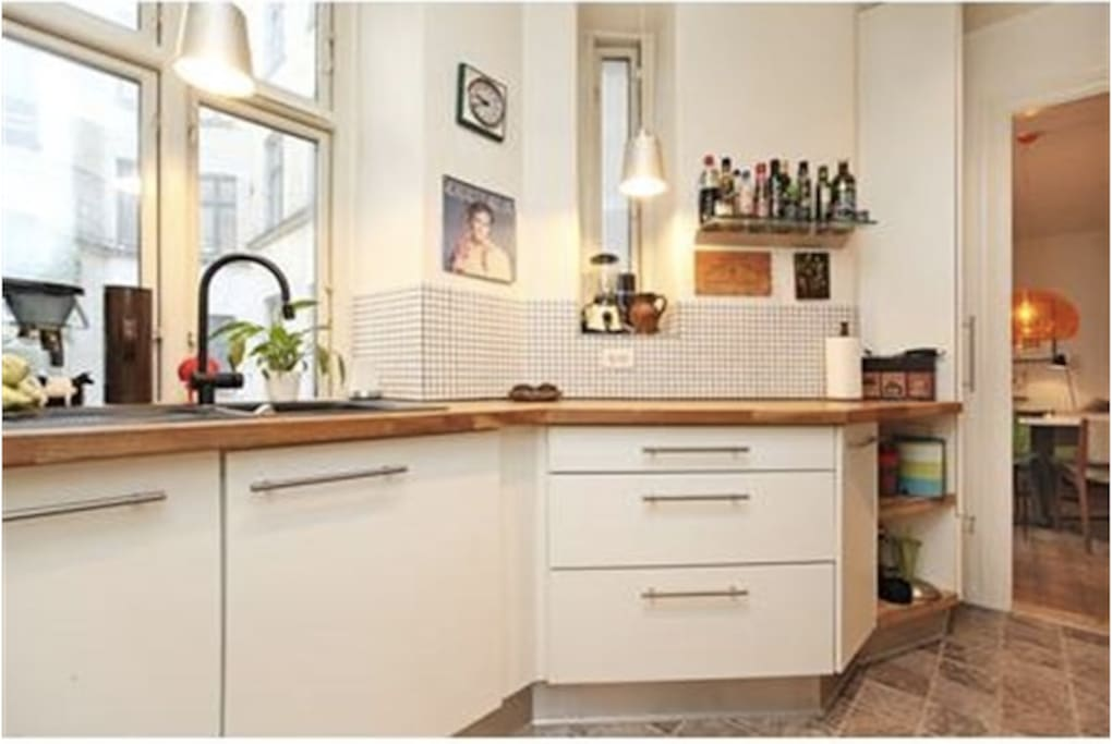 Kitchen with dishwasher and everything you need.