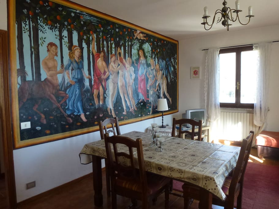 Living room with mural