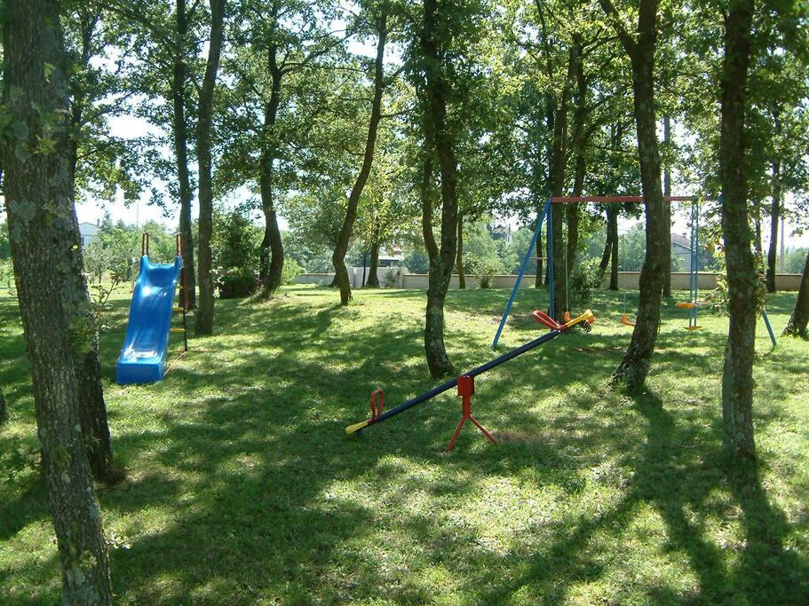 Children's playground under the trees