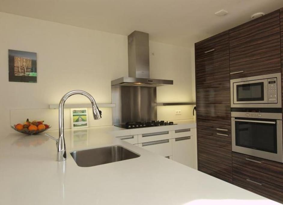Luxurious kitchen with stove, oven, microwave, refrigerator, freezer, dishwasher, coffee maker, water boiler and toaster