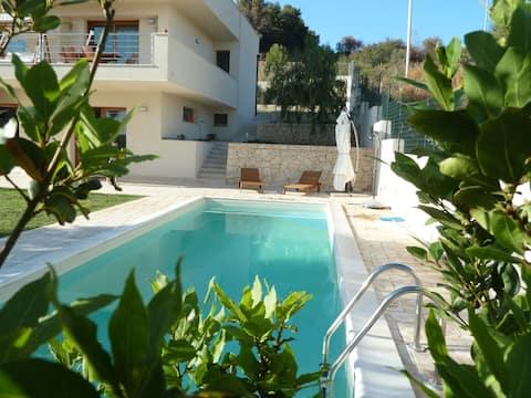loft in villa with swimming pool